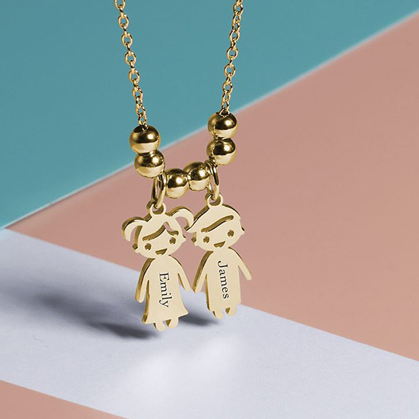 46f235912 Engraved Children Charms Pendant Necklace - Juromeo